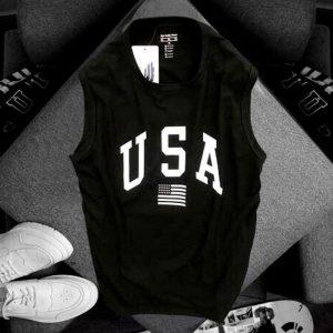 Áo thun nam ba lỗ USA màu đen