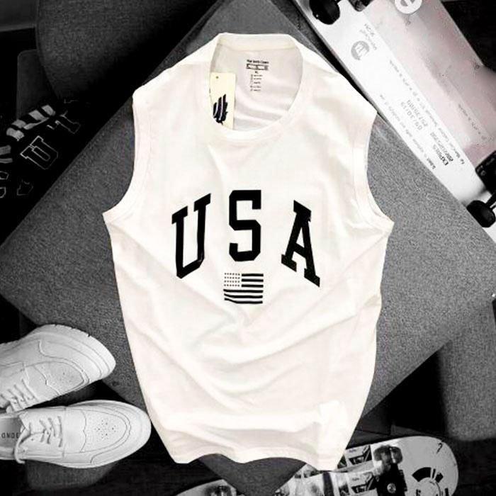 Áo thun nam ba lỗ USA màu trắng