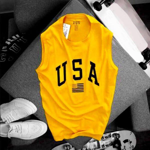 Áo thun nam ba lỗ USA màu vàng