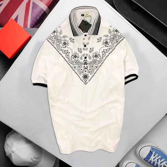Áo thun nam HB có cổ trụ màu trắng