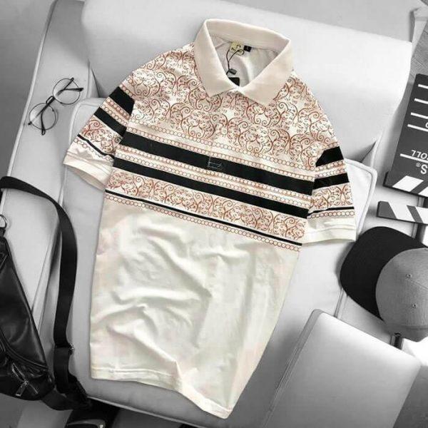 Áo thun nam họa tiết thổ cẩm màu trắng