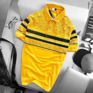 Áo thun nam họa tiết thổ cẩm màu vàng