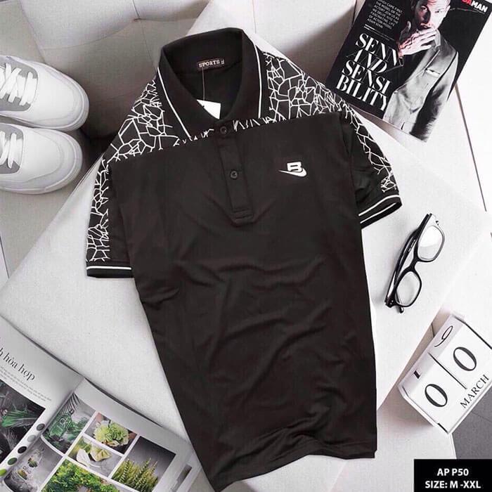 Áo thun nam Sport phói họa tiết màu đen