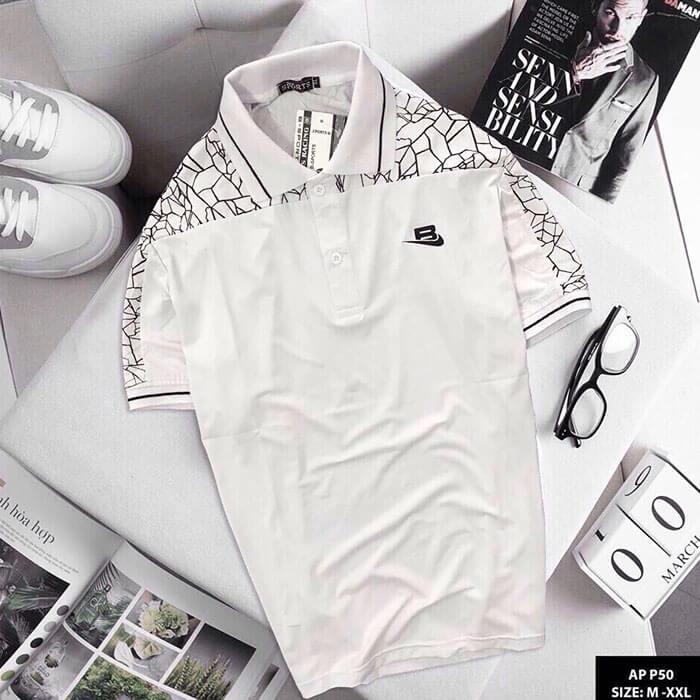Áo thun nam Sport phói họa tiết màu trắng