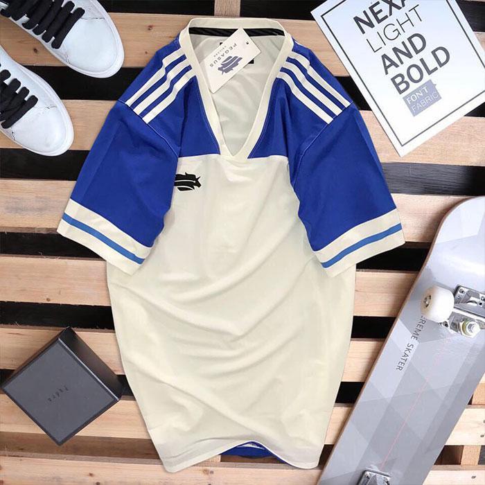 Áo thun thể thao nam Pegasus trắng + xanh biển