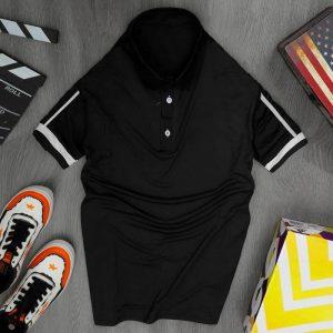 Áo thun nam cổ trụ thể thao màu đen