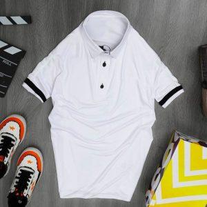 Áo thun nam cổ trụ thể thao màu trắng