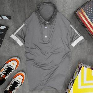 Áo thun nam cổ trụ thể thao màu xám nhạt