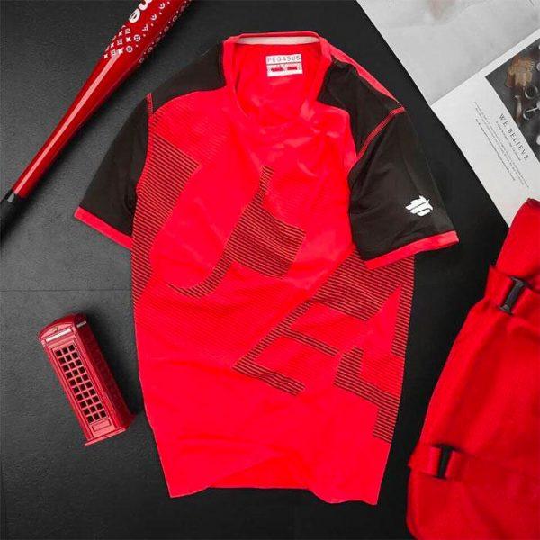 Áo thun nam thể thao cổ tròn màu đỏ phối tay đen