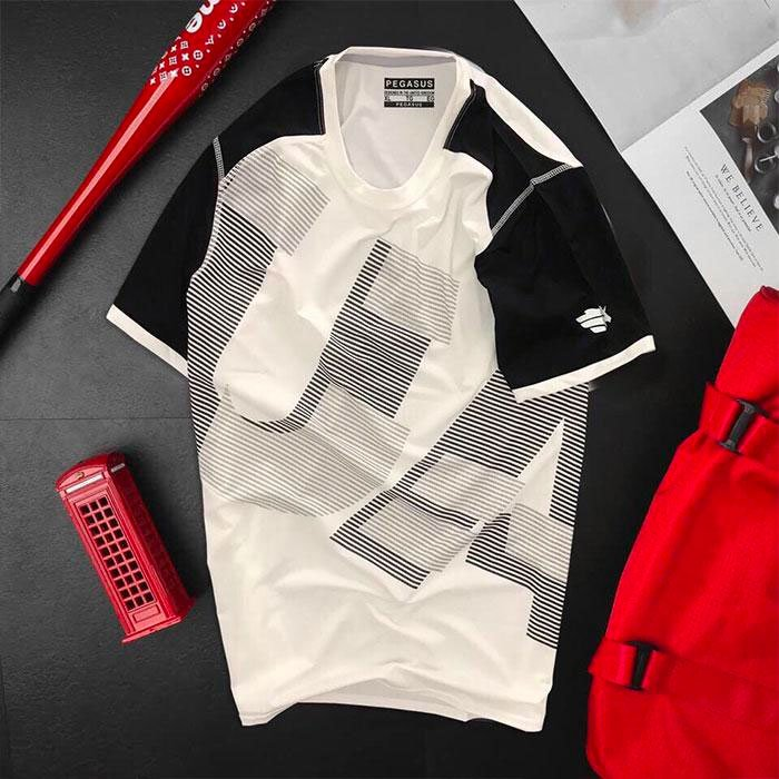 Áo thun nam thể thao cổ tròn màu trắng phối tay đen
