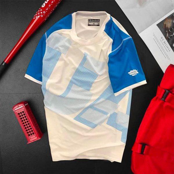 Áo thun nam thể thao cổ tròn màu trắng phối tay xanh dương