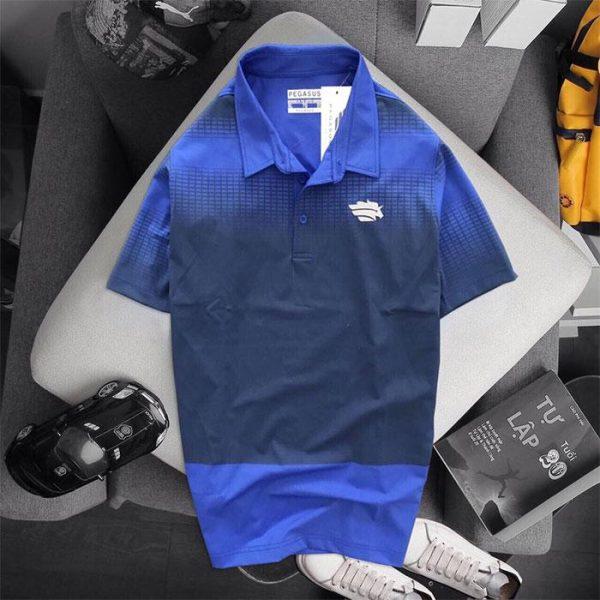 Áo thun thể thao cổ bẻ Pegasus xanh đen phối xanh biển