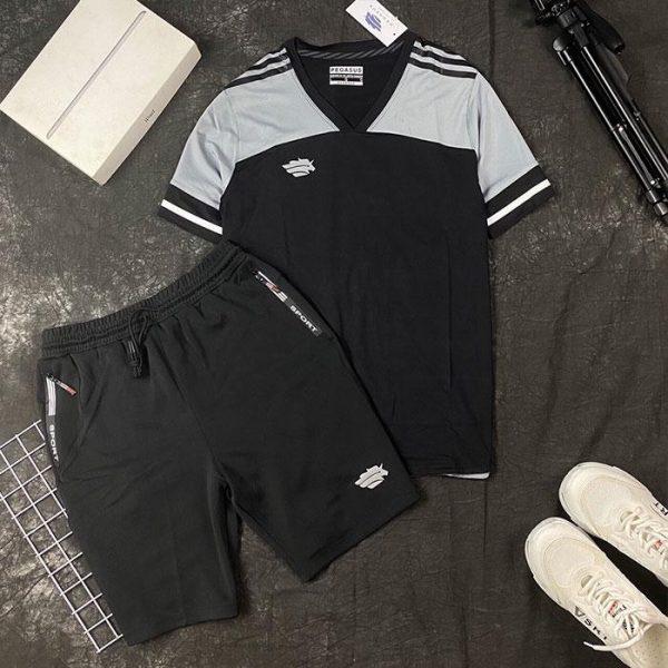 Áo thun thể thao cổ tim đen xám phối quần short thun đen