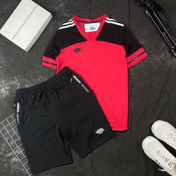 Áo thun thể thao cổ tim đỏ đen phối quần short thun đen