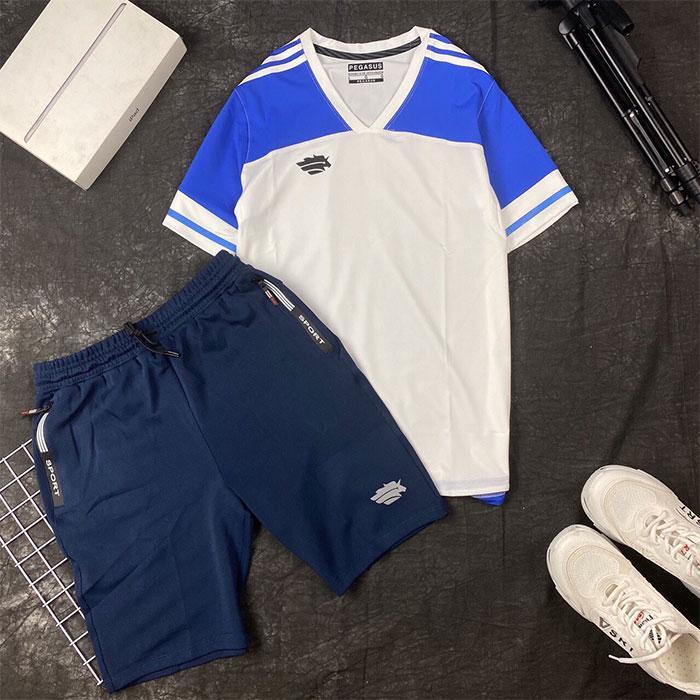 Áo thun thể thao cổ tim trắng xanh dương phối quần short thun đen