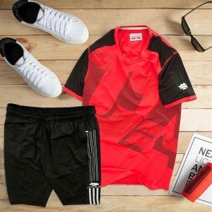 set áo thun thể thao nam cổ tròn màu đỏ quần đen