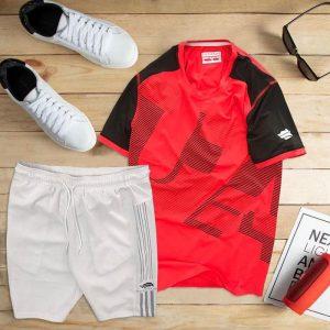 set áo thun thể thao nam cổ tròn màu đỏ quần trắng