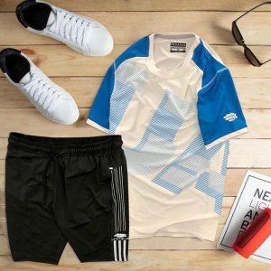 set áo thun thể thao nam cổ tròn màu trắng phối tay xanh dương quần đen