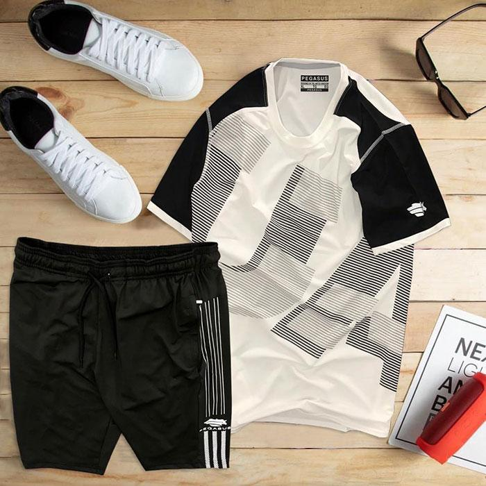 set áo thun thể thao nam cổ tròn màu trắng phối tay đen quần đen