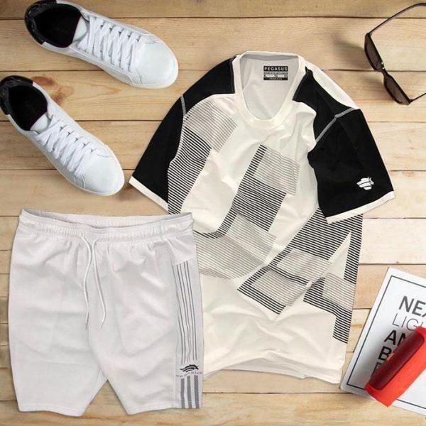 set áo thun thể thao nam cổ tròn màu trắng phối tay đen quần trắng