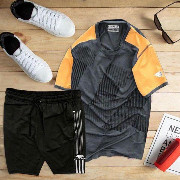set áo thun thể thao nam cổ tròn màu đen phối tay cam quần đen