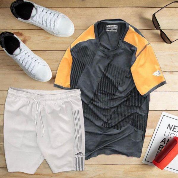 set áo thun thể thao nam cổ tròn màu đen phối tay cam quần trắng
