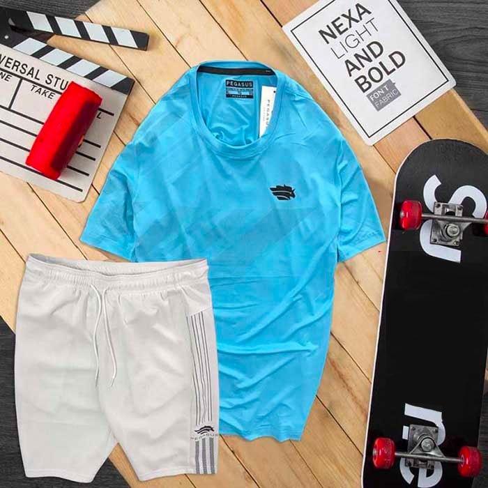 Đồ bộ thể thao nam Pegasus áo xanh dương quần trắng