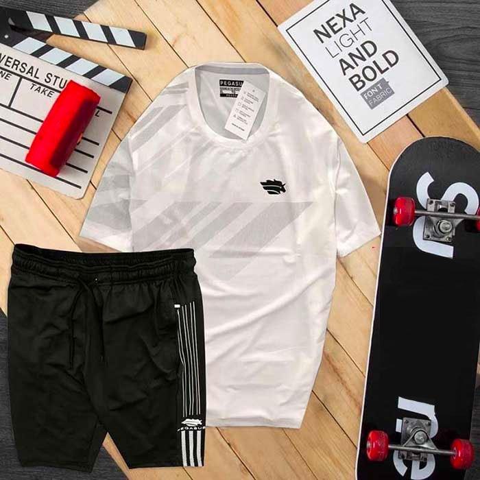 Đồ bộ thể thao nam Pegasus áo trắng quần đen