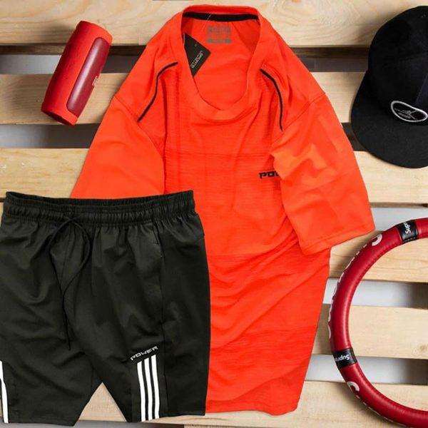 áo thun nam cổ tròn màu đỏ quần short màu đen