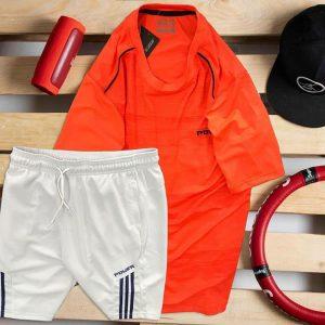 áo thun nam cổ tròn màu đỏ quần short màu trắng