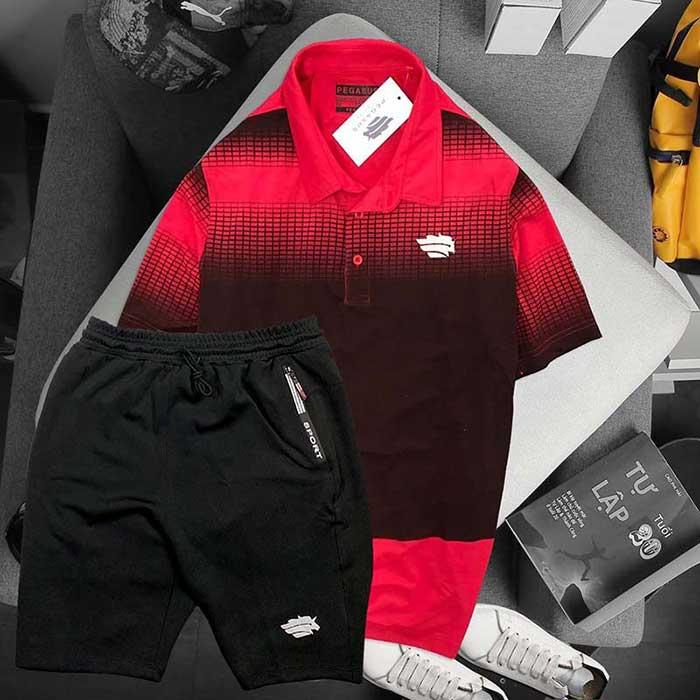 Áo đỏ đen phối quần đen