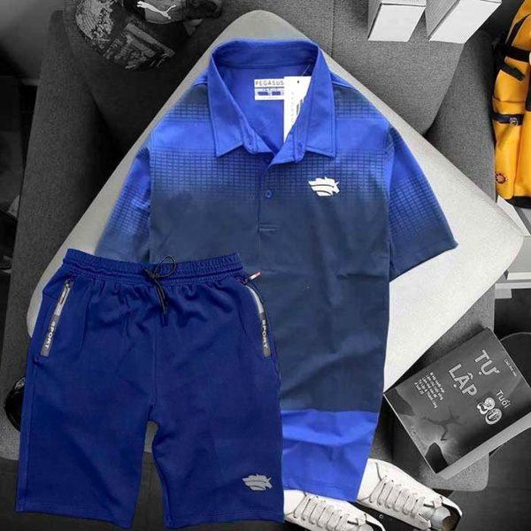 Áo xanh biển đen phối quần xanh đen