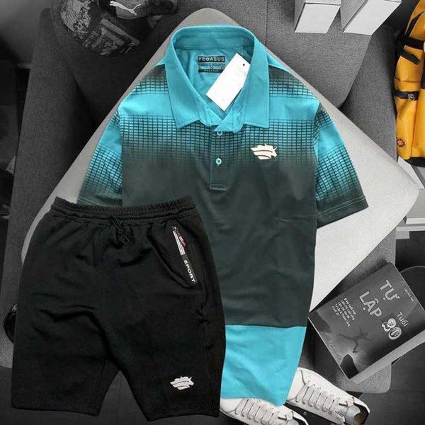 Áo xanh lá đen phối quần short đen