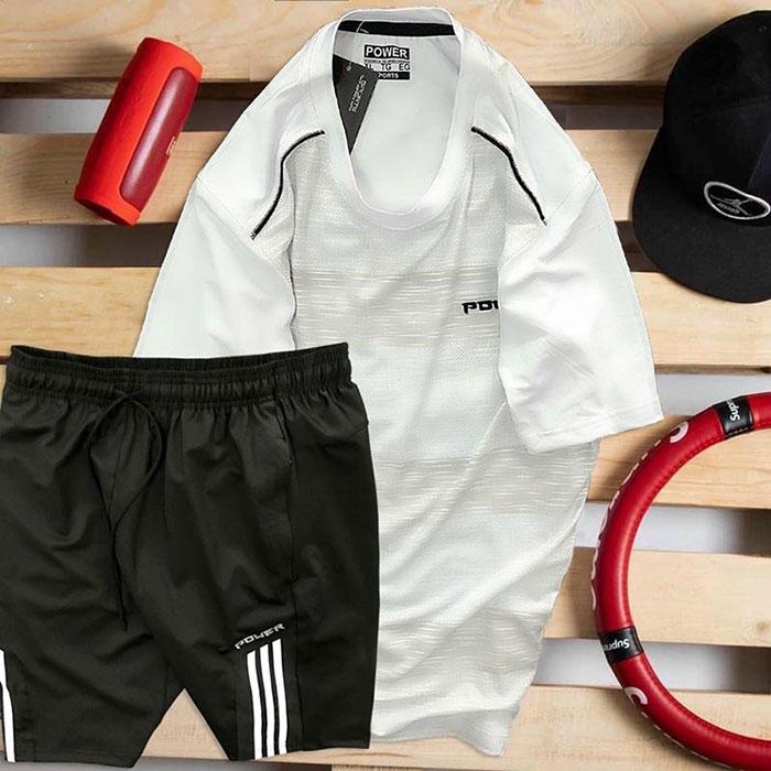 áo thun nam cổ tròn màu trắng quần short màu đen