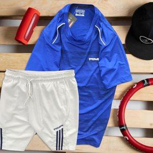 áo thun nam cổ tròn màu xanh biển quần short màu trắng