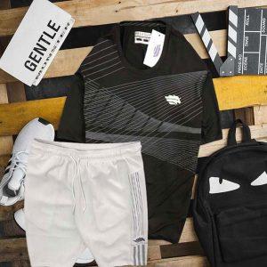 Set áo thun đen cổ tròn đen quần short trắng Pegasus