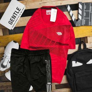 Set áo thun đen cổ tròn đỏ quần short đen Pegasus