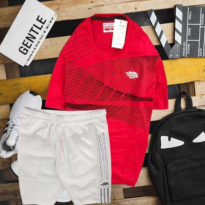 Set áo thun đen cổ tròn đỏ quần short trắng Pegasus