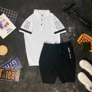 Set đồ thể thao AD áo trắng quần đen