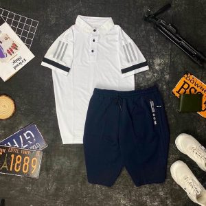 Set đồ thể thao AD áo trắng quần xanh đen
