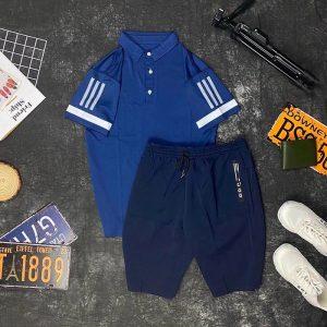 Set đồ thể thao AD áo xanh biển quần xanh đen
