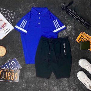 Set đồ thể thao AD áo xanh dương quần đen
