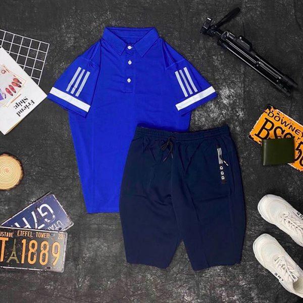 Set đồ thể thao AD áo xanh dương quần xanh đen