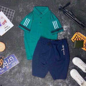 Set đồ thể thao AD áo xanh lá quần xanh đen